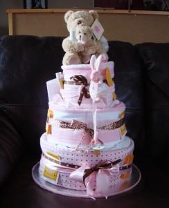 A handmade diaper cake.