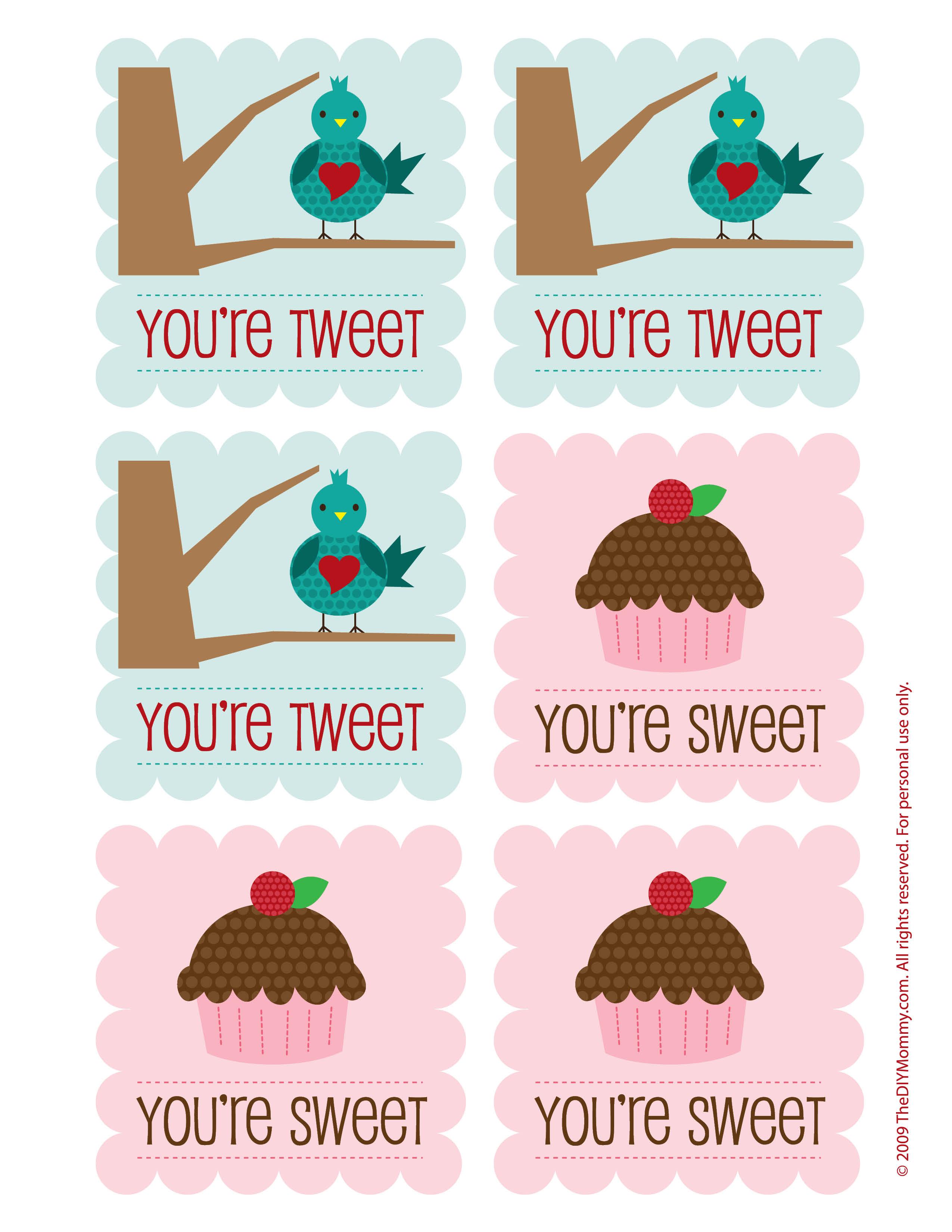 Free Cupcake & Bird Printable Valentines