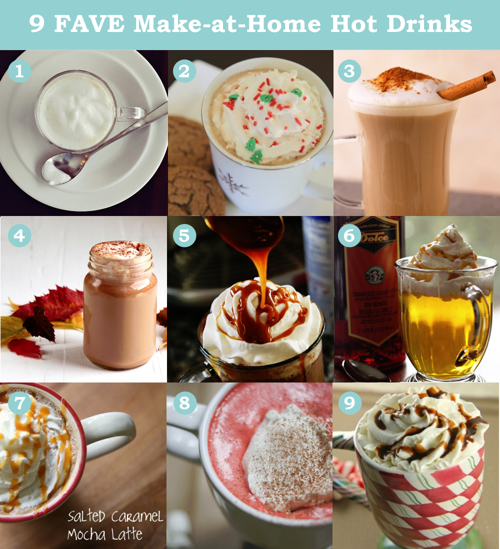 9 Favourite DIY Hot Drinks by The DIY Mommy - Mochas, Lattes, Hot Chocolates, Cider