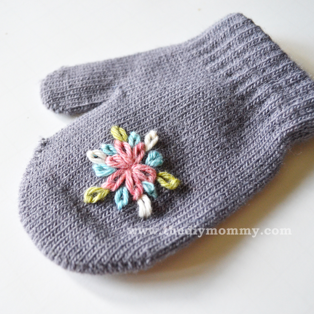 Embroider Baby Mittens for $1 by The DIY Mommy