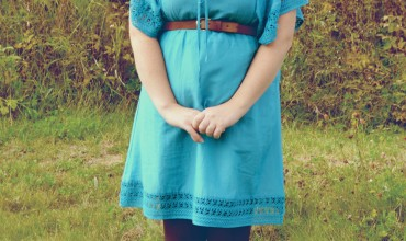 Summer Dress with Tights and Boots by The DIY Mommy ~ Petite Curvy Mom Style