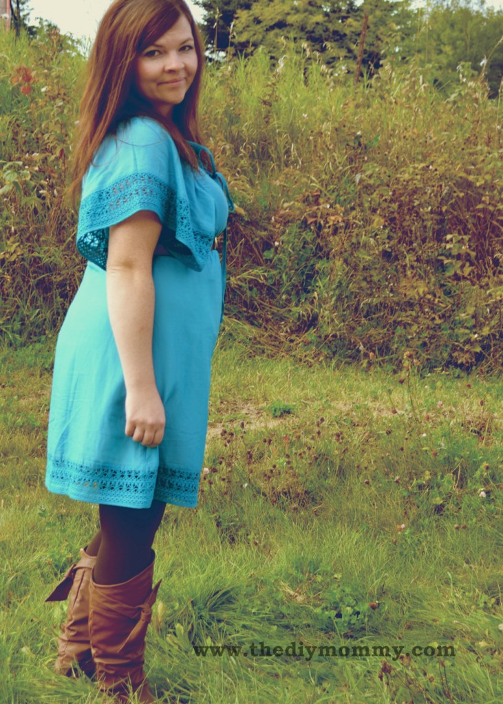 Wear a Summer Dress with TIghts and Boots - Petite Curvy Mom Style by The DIY Mommy