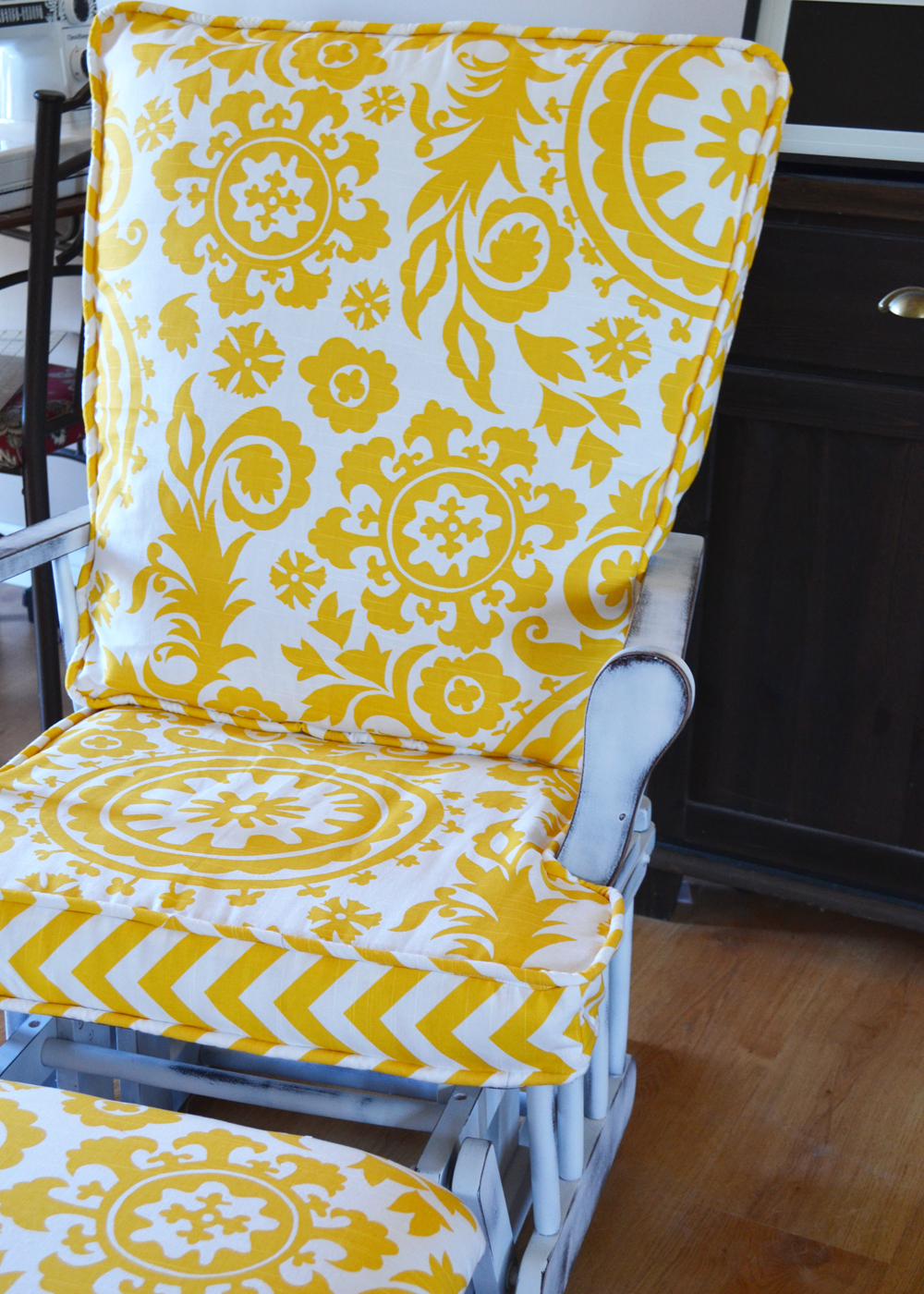 Update A Nursery Gilder Rocking Chair By The DIY Mommy. Stuff The Cushions  Into The Cushion ...