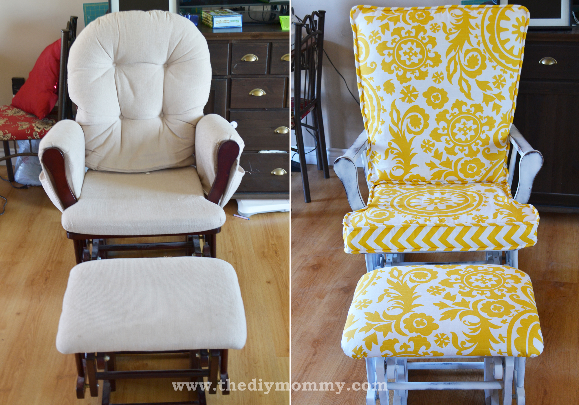 Update a Nursery Gilder Rocking Chair by The DIY Mommy & Update a Nursery Glider Rocking Chair | The DIY Mommy