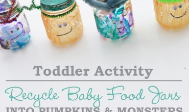 Toddler Activity: Recycle Baby Food Jars into Pumpkins and Monsters by The DIY Mommy
