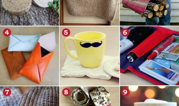 A Handmade Christmas: DIY Gifts for Men. Manly soap, a scarf, firewood tote, leather phone case, mustache mug, car kit, knit hat, DIY necktie & a chalkboard mug.