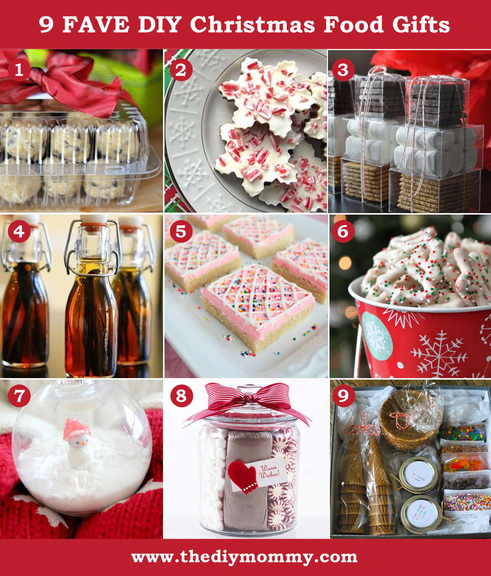 A Handmade Christmas: DIY Christmas Food Gifts. Cookie dough tin, peppermint bark, s'mores, DIY vanilla, sugar cookie bars, dipped pretzels, cocoa in an ornament, cocoa in a jar, DIY sundaes.