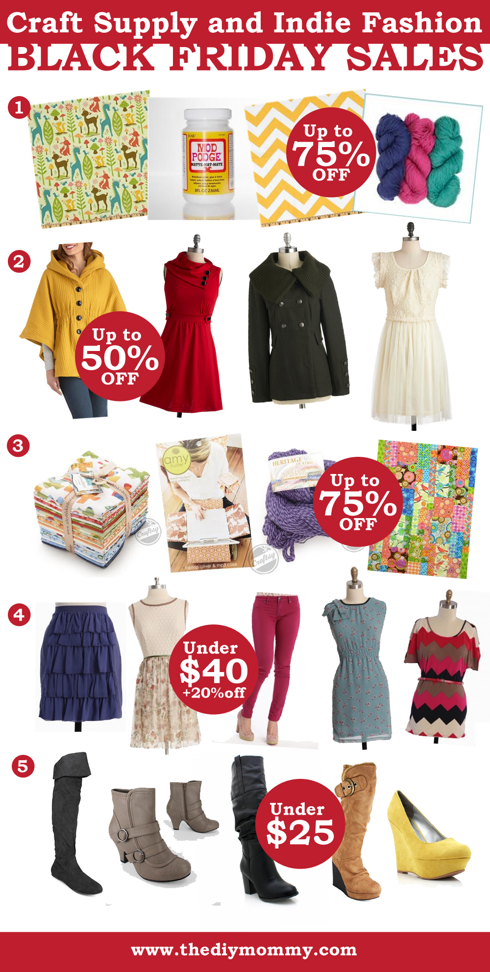 Amazing Craft Supply and Indie Fashion Black Friday Sales & Coupon Codes from The DIY Mommy