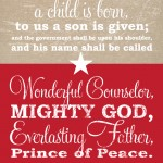 Isaiah 9:6 Christmas Bible Verse Burplap & Red Free Printable by The DIY Mommy