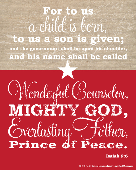 Exceptional Isaiah 9:6 Christmas Bible Verse Burplap U0026 Red Free Printable By The DIY  Mommy