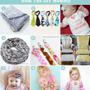 9 Favourite Tutorials of 2012 from The DIY Mommy. Boutique blanket, baby necktie, I am Loved The Help Onesie, Infinity Scarf, Soother Clips, Glider Recover, Upcycled Baby Headband, DIY Photo backdrop and Princess Dress.