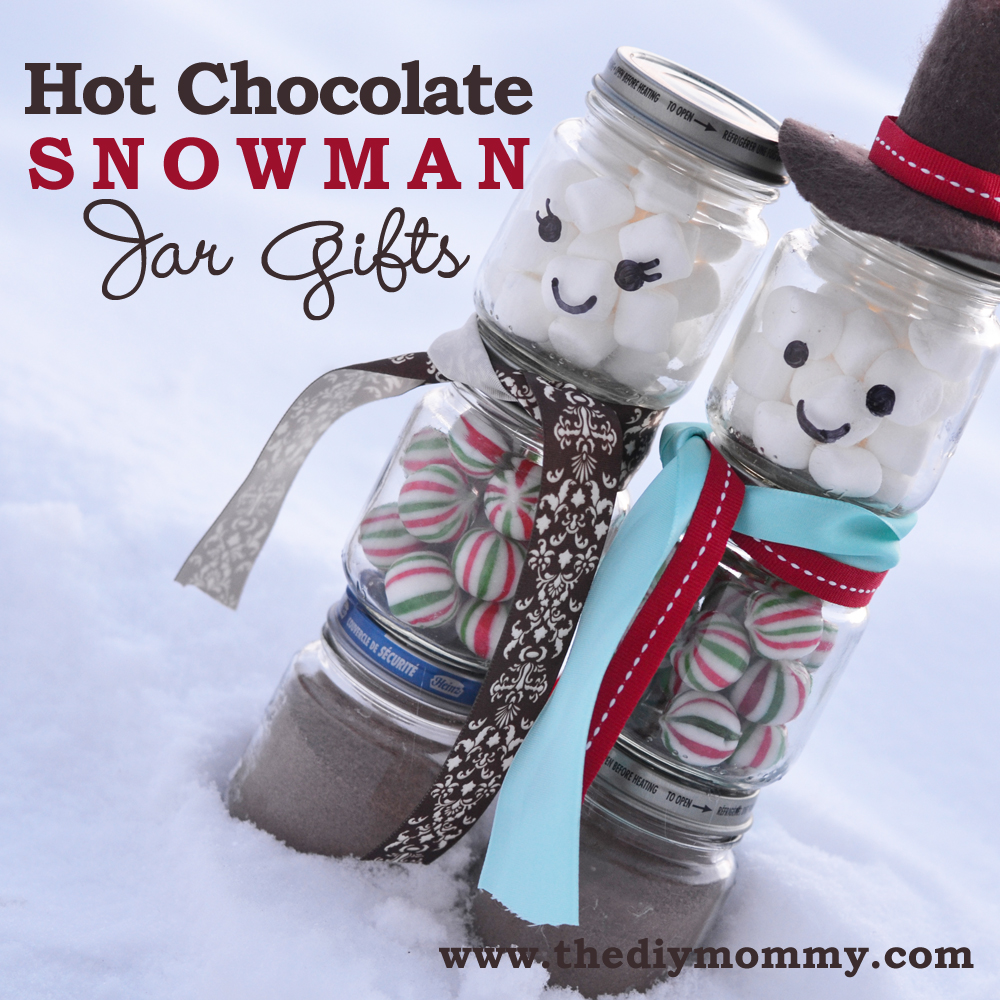 DIY Hot Chocolate Snowman Jar Gifts by The DIY Mommy