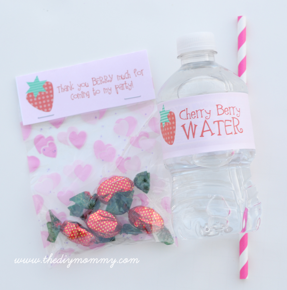 Free Strawberry Water Bottle & Treat Bag Printables by The DIY Mommy