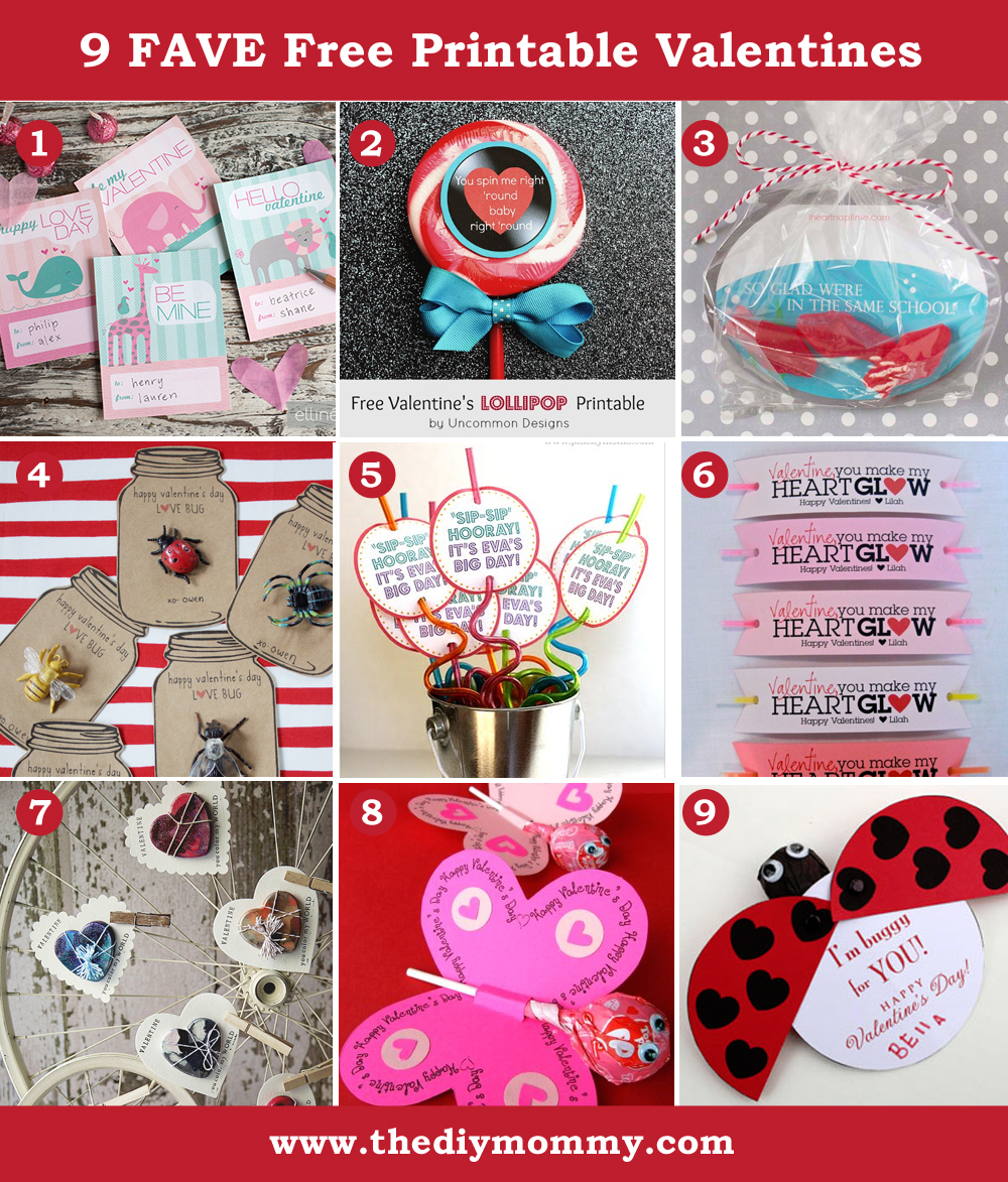 9 Favourite Free Valentine Printables by The DIY Mommy