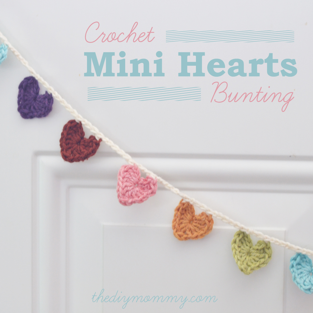 Crochet A Mini Hearts Bunting Banner The Diy Mommy