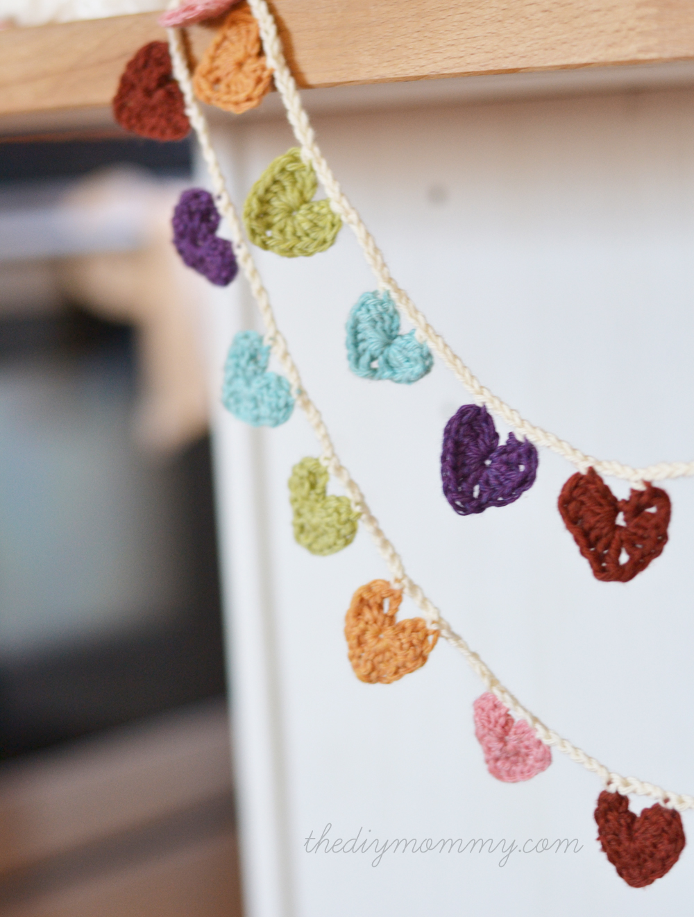 Crochet a Mini Hearts Bunting Banner by The DIY Mommy