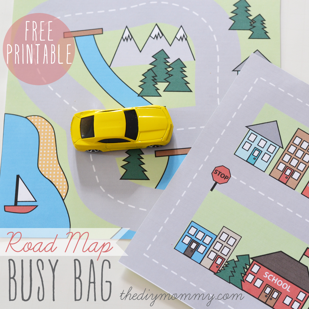Printable Road Maps Make a Mini Road Map Busy Bag   Free Printable | The DIY Mommy