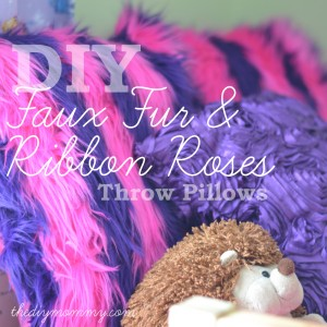 Sew Simple Faux Fur and Ribbon Roses Throw Pillow Covers