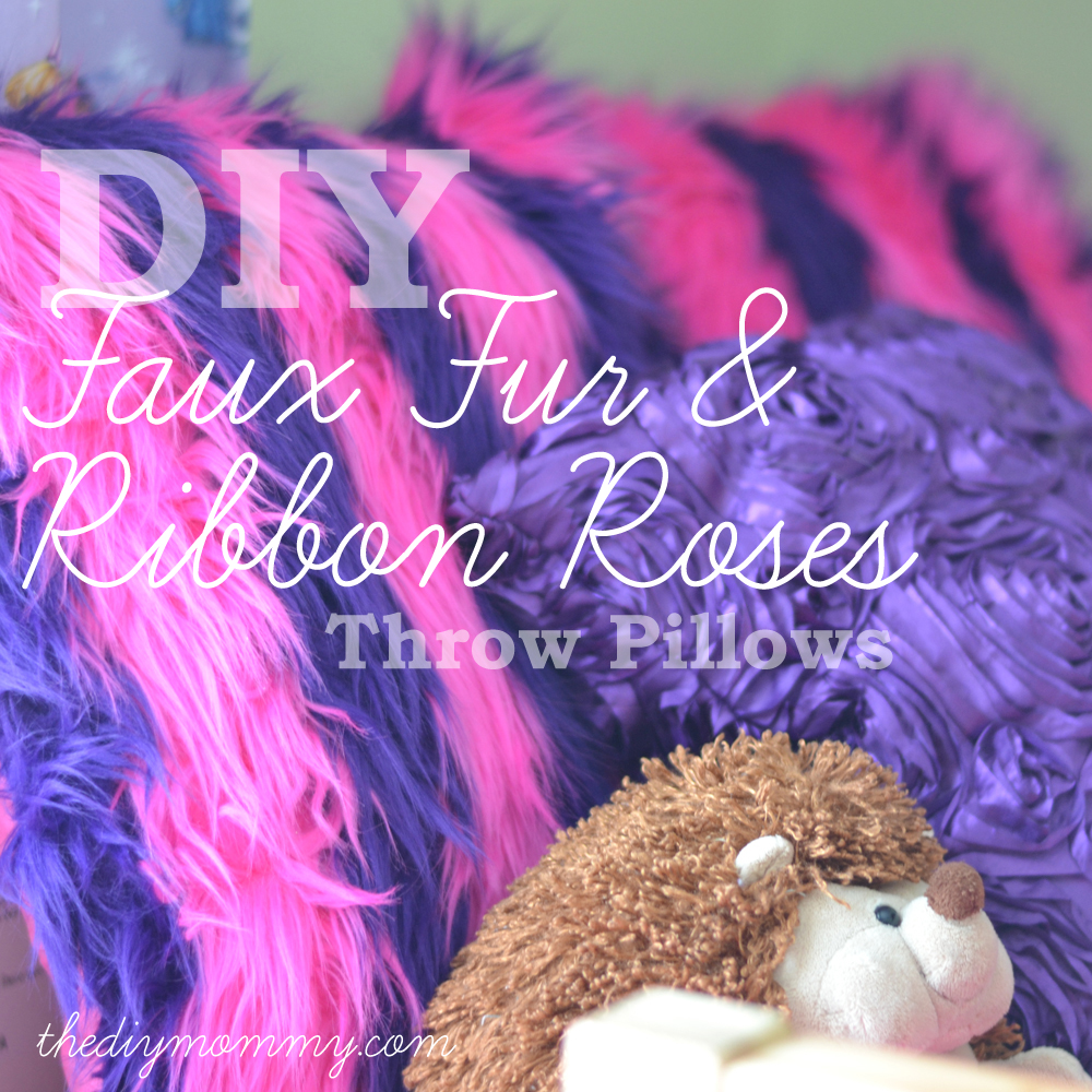 DIY Faux Fur and Ribbon Rosette Throw Pillow Covers. They're easy and a fun way to change the look of a room on a budget!