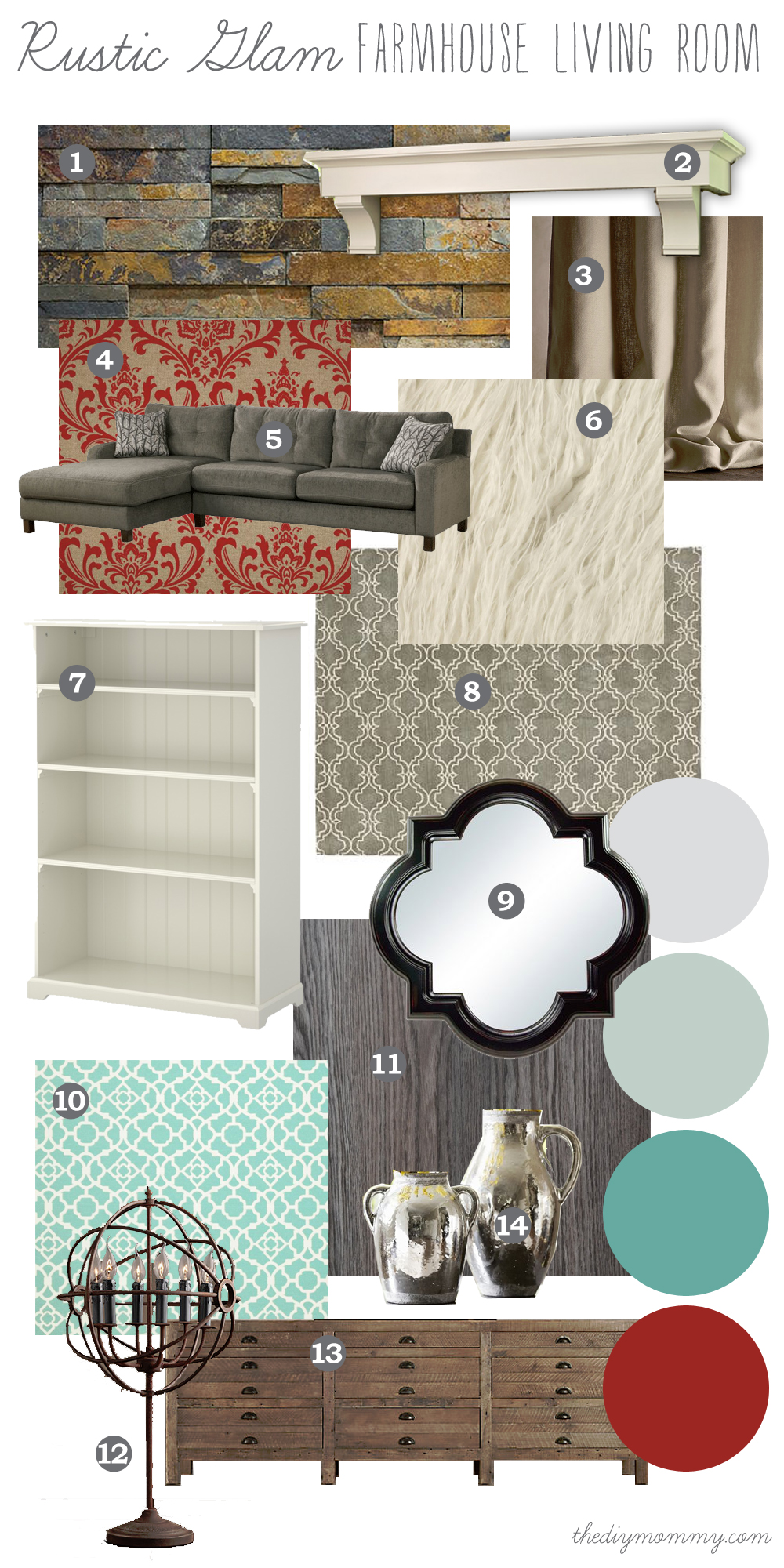 Rustic Glam Living Room mood board: rustic glam farmhouse living room – our diy house