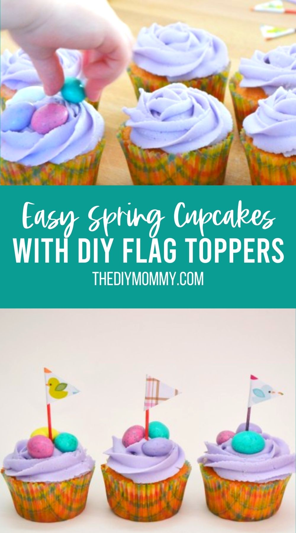 Easy Spring Cupcakes With DIY Flag Toppers