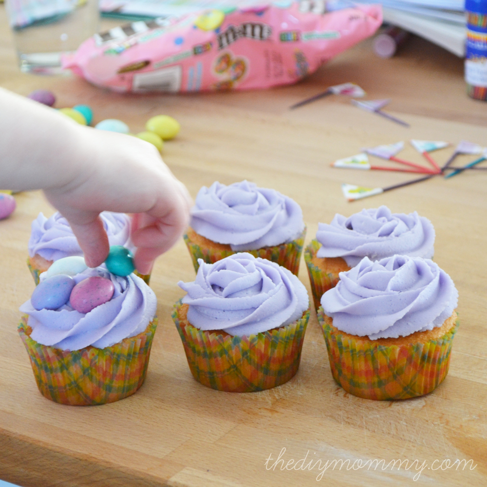 DIY Spring Cupcakes & Cupcake Flag Toppers by The DIY Mommy