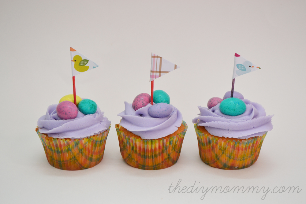 DIY Spring Cupcakes and Cupcake Flag Toppers by The DIY Mommy