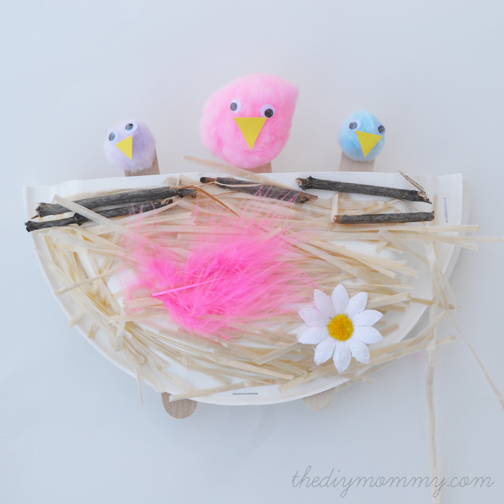Make A Bird S Nest From A Paper Plate A Kid S Craft The Diy Mommy