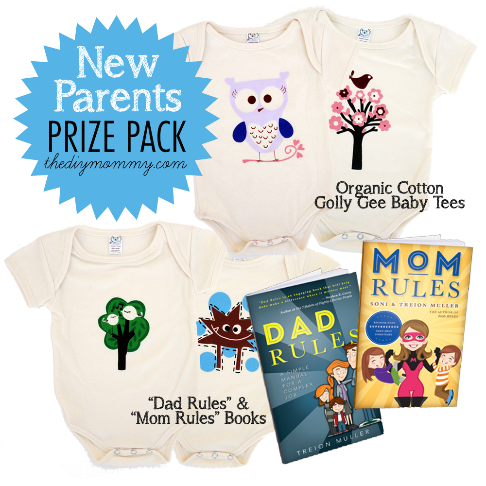 New Parents Prize Pack Giveaway - Golly Gee Baby Snappy Tees and Dad Rules and Mom Rules Books