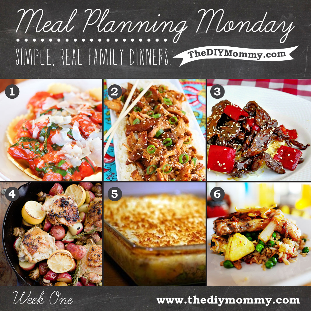 Meal Planning Monday: Week One from The DIY Mommy. Cheese Ravioli with Five Ingredient Brown Butter Tomato Sauce, Crock Pot Honey Sesame Chicken, FIve Spice Ginger Beef, Skillet Rosemary Chicken, Easy Shepherd's Pie, Pork Chops with Pineapple Fried Rice