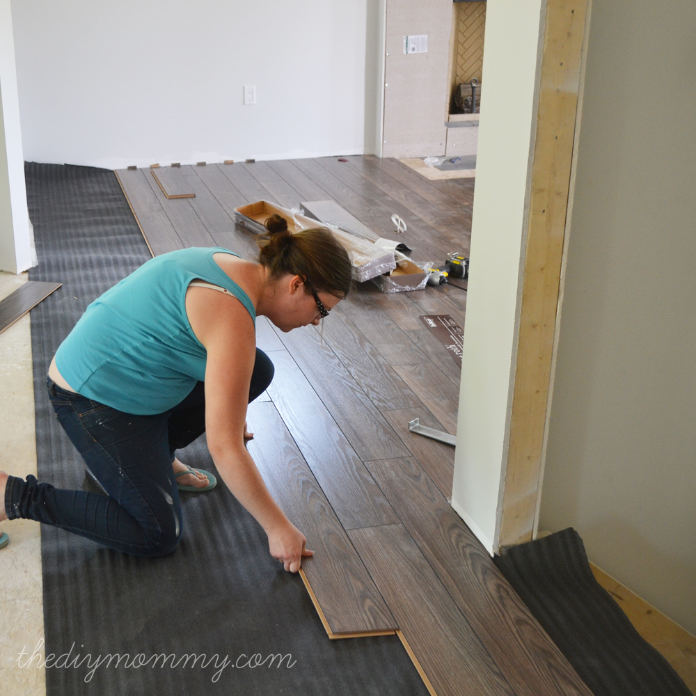 Installing Laminate Flooring by The DIY Mommy. (Allen + Roth Provence