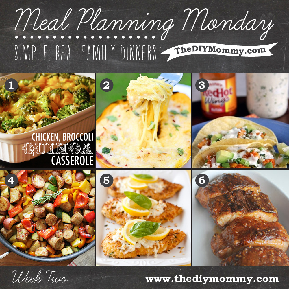Meal Planning Monday Week 2 by The DIY Mommy. Broccoli Chicken Quinoa Casserole, Spaghetti Squash Alfredo, Buffalo Chicken Tacos, Summer Vegetables with Sausage and Potatoes, Lemon Chicken Romano, Brown Sugar Spiced Pork Tenderloin