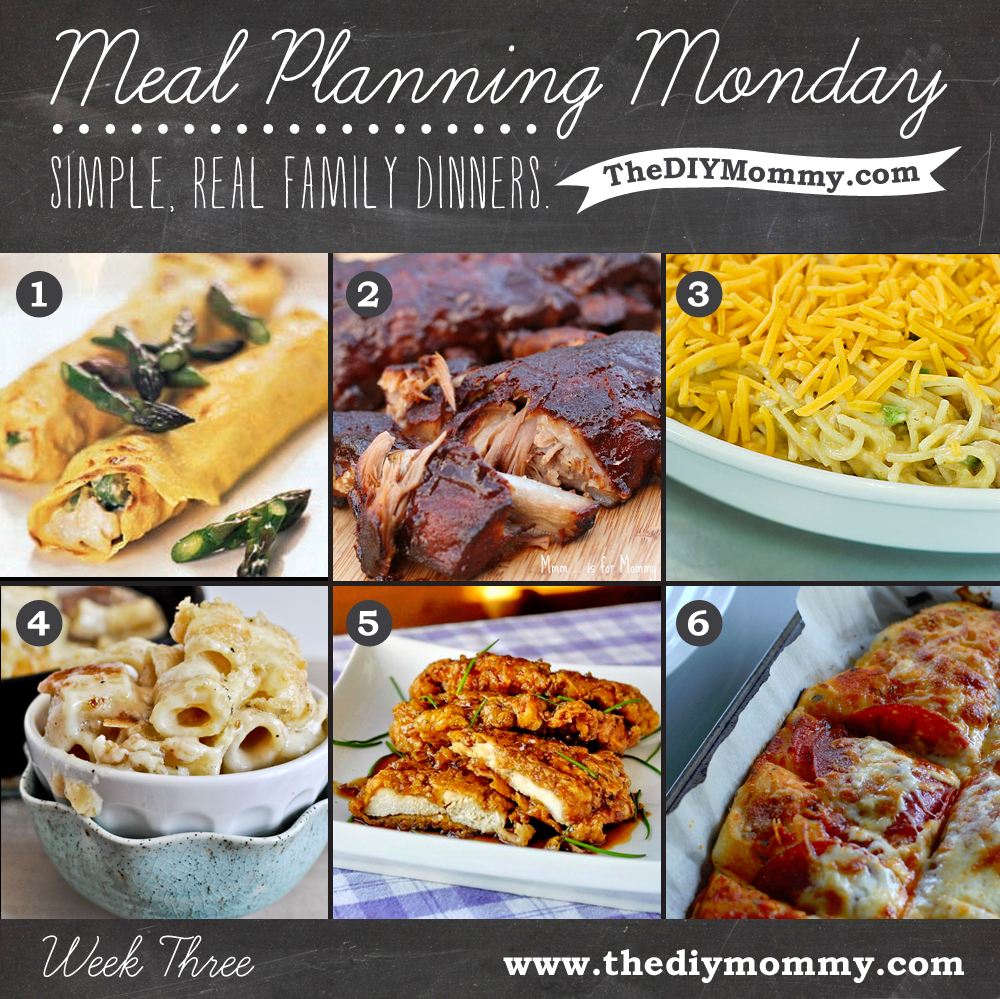 Meal Planning Monday Week 3 - The DIY Mommy. Chicken crepes, BBQ ribs, chicken spaghetti casserole, three cheese pasta, honey garlic crunch chicken, homemade pizza.