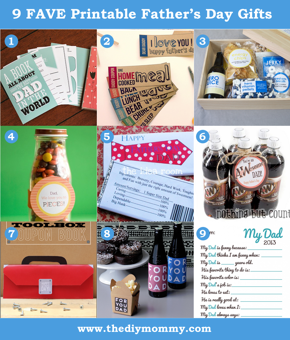 9 Favoutie Last Minute Printable Father's Day Gift Ideas