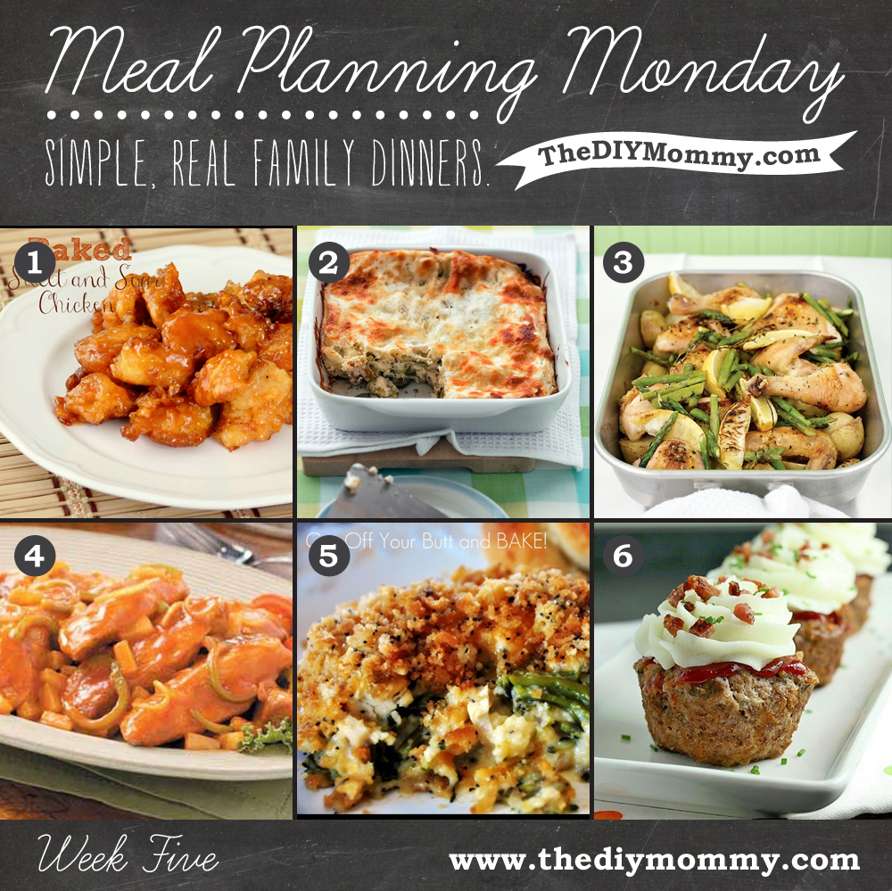 Meal Planning Monday Week 5: Sweet & Sour Baked Chicken, Zucchini Lasagna, Roast Chicken with Potatoes, Lemon & Asparagus, Sweet & Sour Ribs, Chicken Broccoli Supreme, Meatloaf Cupcakes
