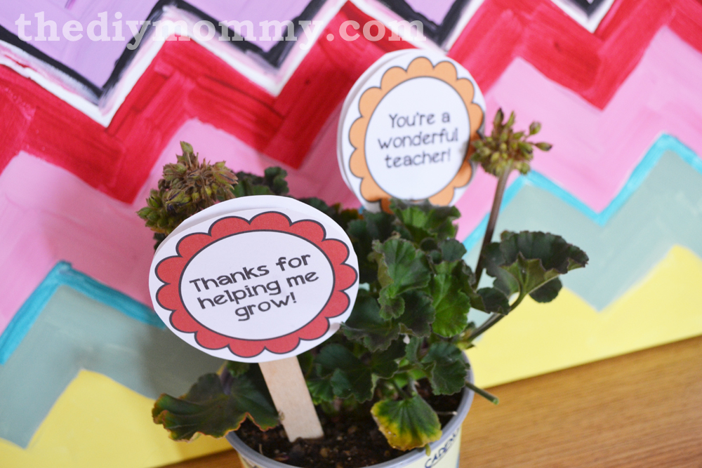 Flower Pot Wrapper  + Tags Teacher Gift - Free Printable!