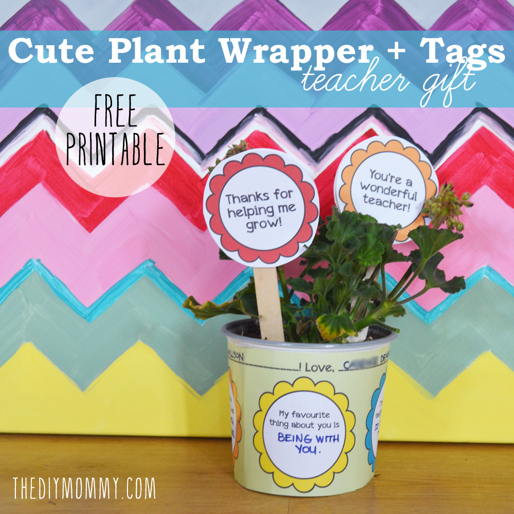 Flower pot wrapper tags teacher gift free printable the diy mommy flower pot wrapper tags teacher gift free printable negle Images