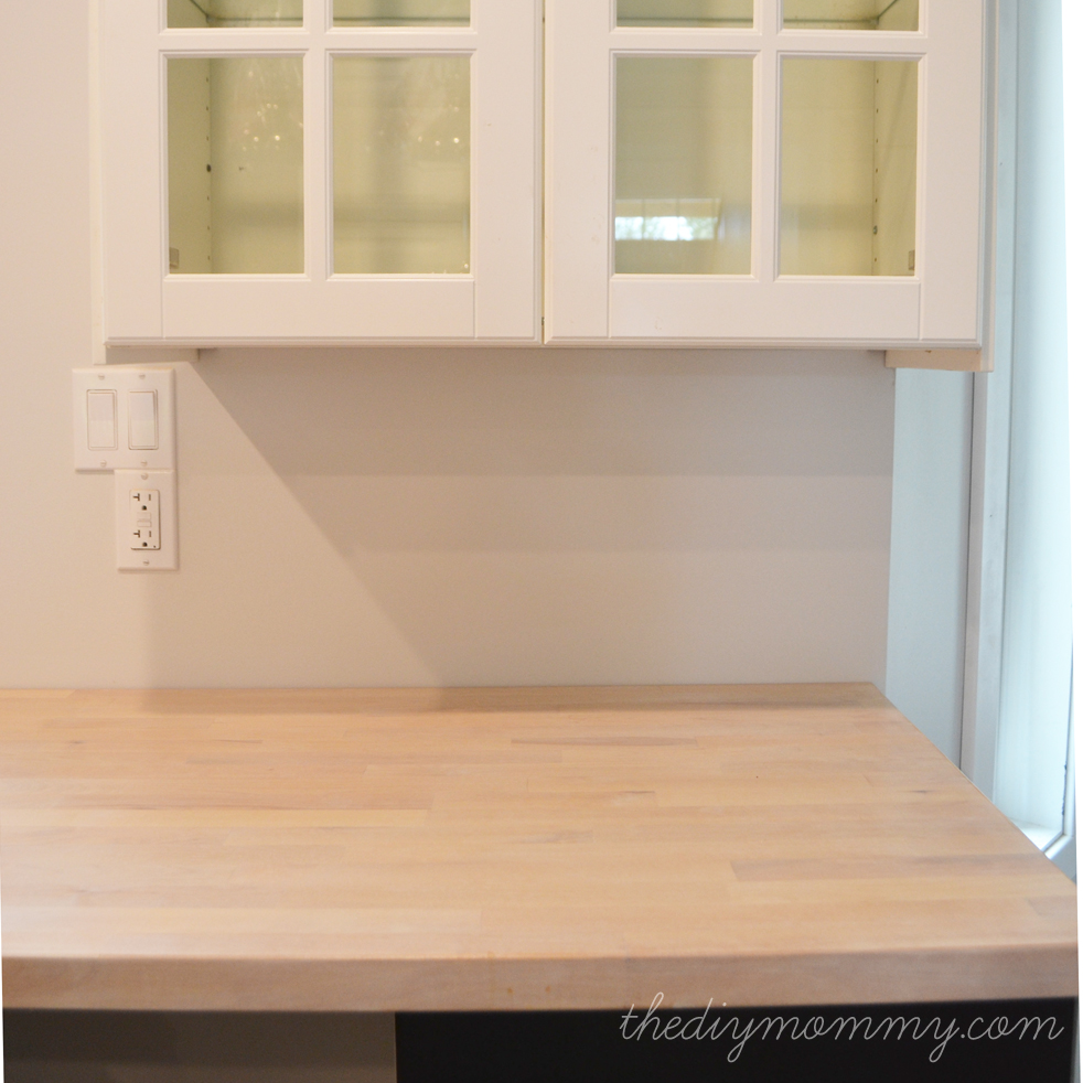 Whitewash and Seal a Butcher Block Counter Top | The DIY Mommy