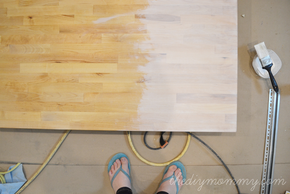 Whitewash and Seal a Butcher Block Counter Top  The DIY Mommy