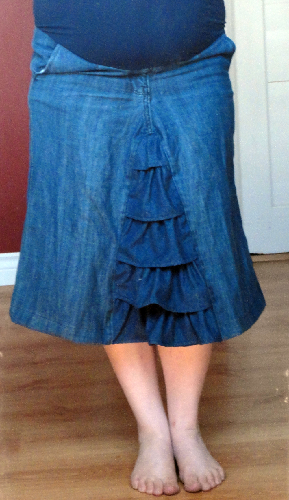 39dde3f68f998 This ruffly little denim skirt was designed out of the need for some more  maternity bottoms (all I had so far were two pairs of maternity pants).