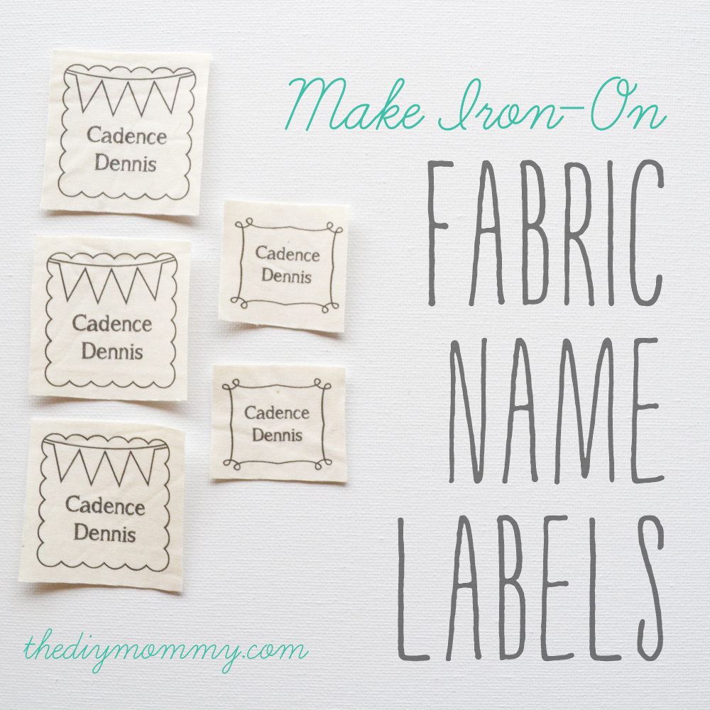 Make diy iron on fabric name labels the diy mommy for How to sew labels on clothes