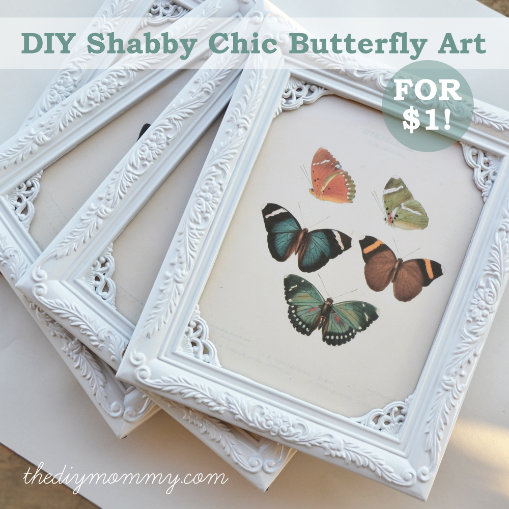 DIY Shabby Chic Butterfly Art for $1. Spray paint vintage frames white and find printable vintage art books!