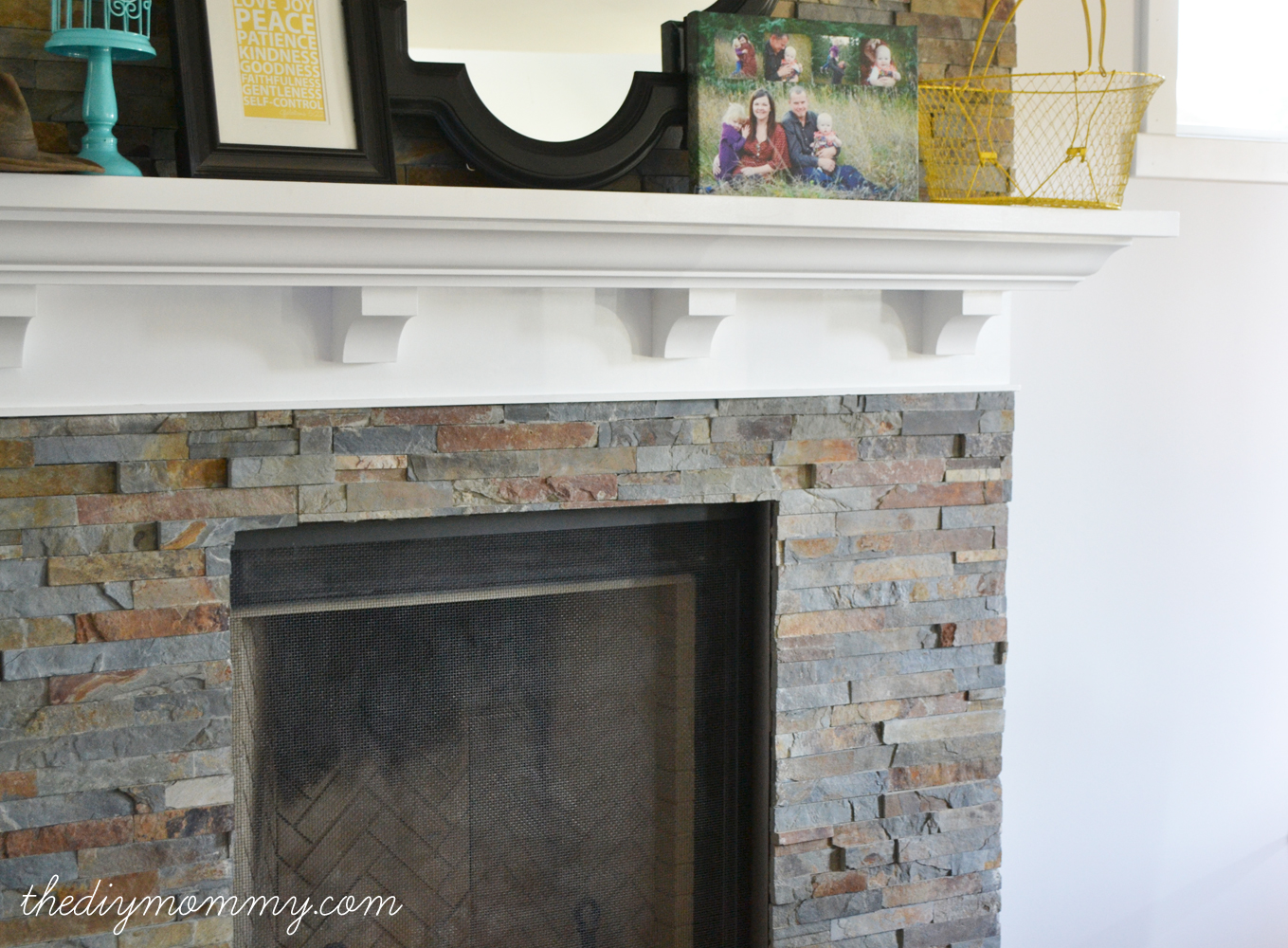 Our DIY Fireplace  Installing The Slate Splite Face Tile The Mommy Building Split