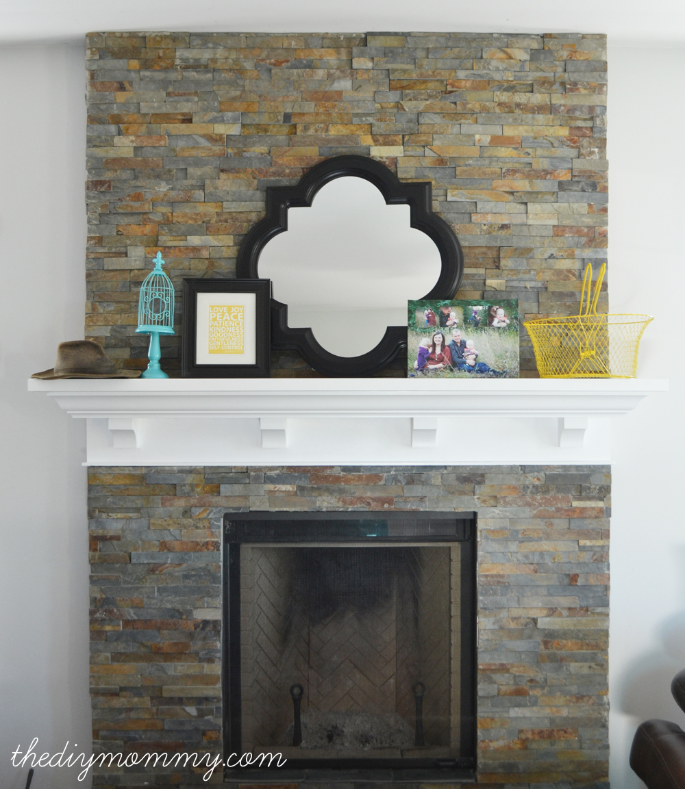 split face tile fireplace