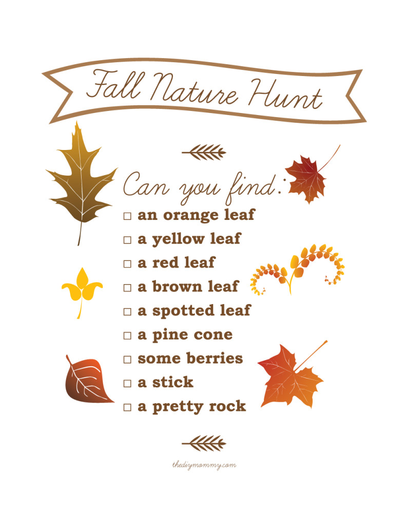 Fall Nature Hunt - Free Printable - The DIY Mommy