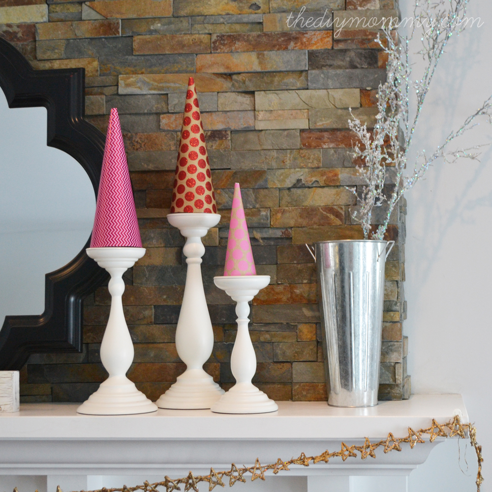 DIY Scrapbook Paper Christmas Tree Cones