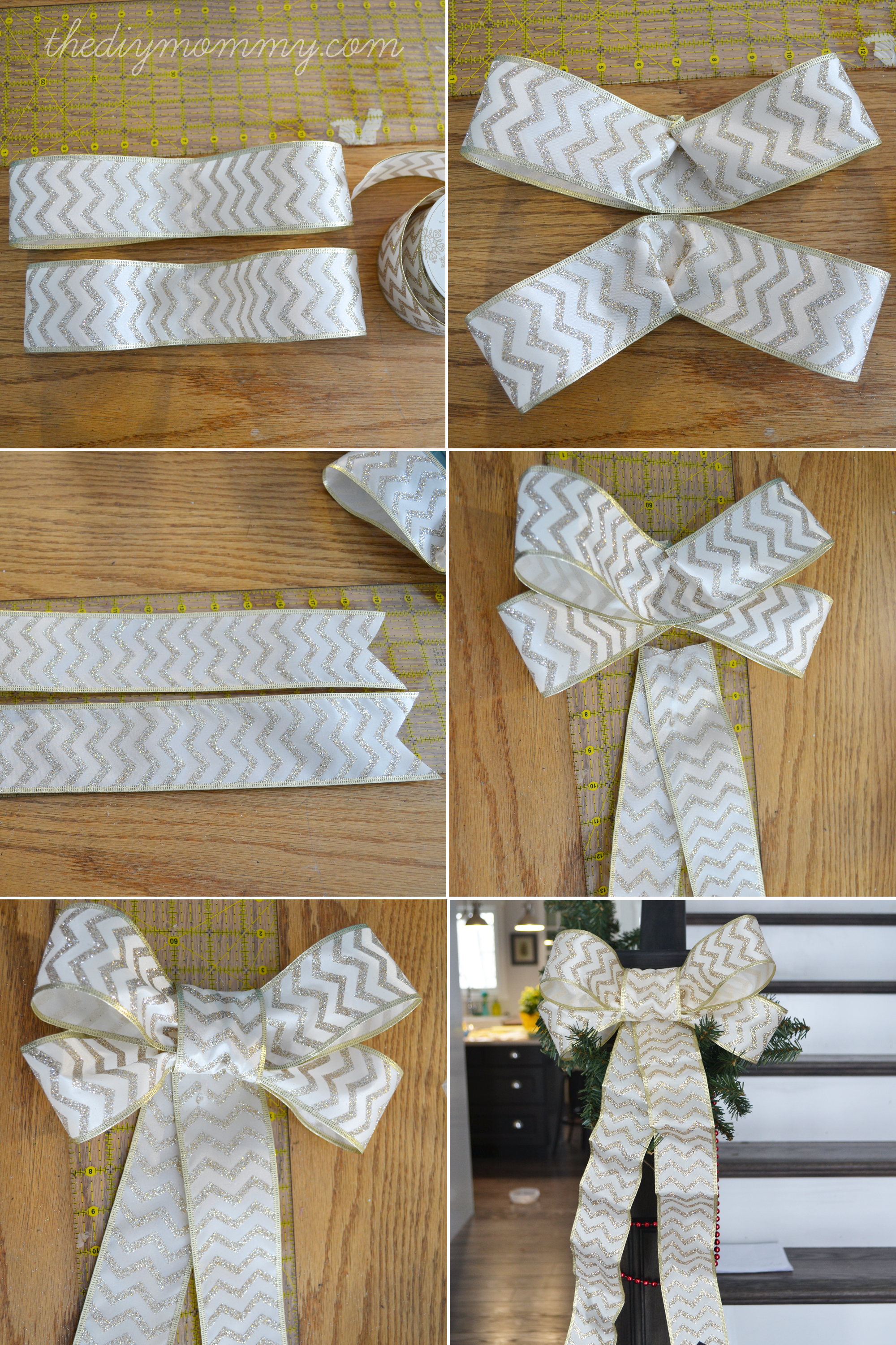 How to make an easy bow for a gift or christmas tree step by.