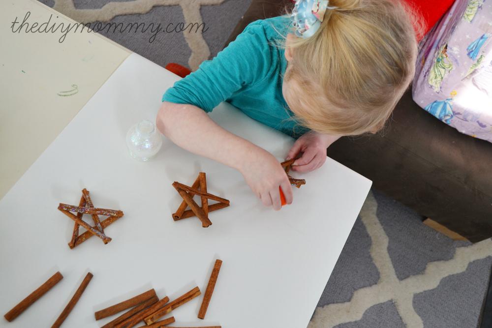 Glittery Cinnamon Stick Star Ornaments by The DIY Mommy