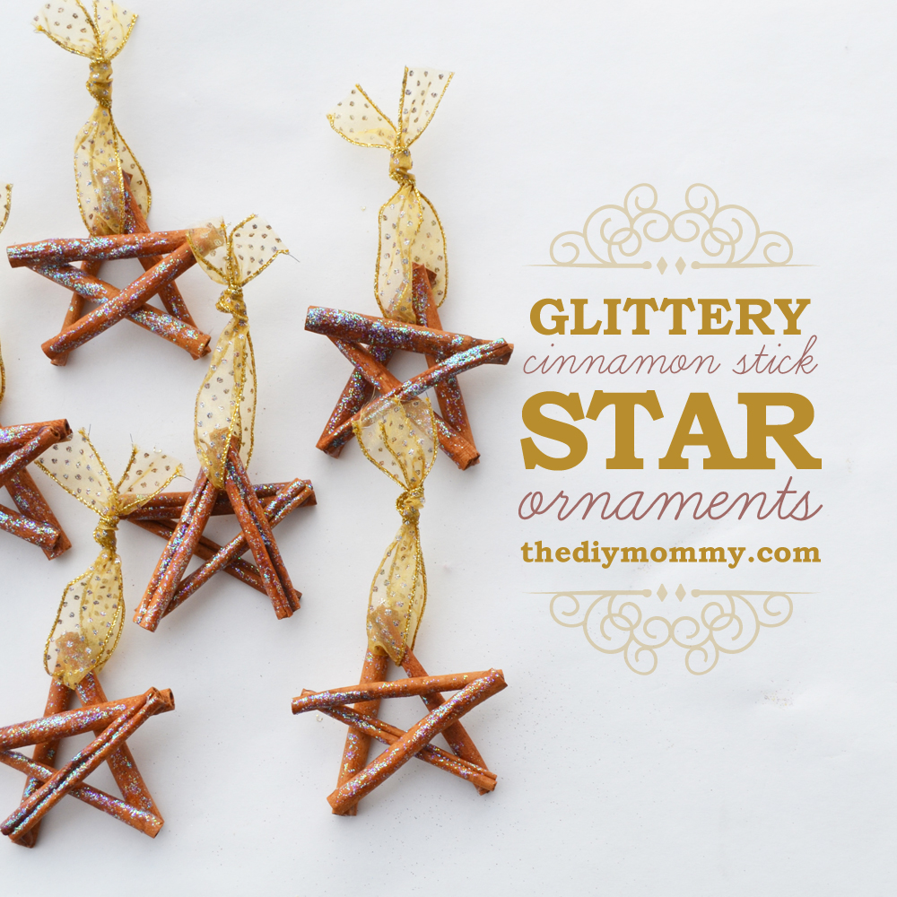 Glittery Cinnamon Stick Star Ornaments by The DIY Mommy