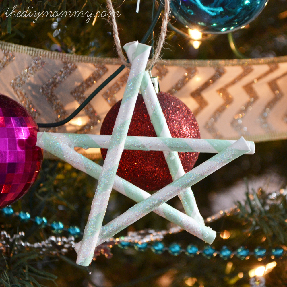 Glittery Paper Straw Star Ornaments by The DIY Mommy